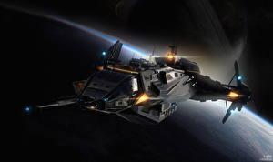 Bureaubladachtergronden Star Citizen Interstellair ruimteschip computerspel Fantasy Ruimte