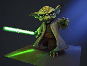 Hintergrundbilder Star Wars  - Film Schwert Fan ART Yoda Film 3D-Grafik