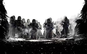 Wallpapers Star Wars: The Last Jedi Clone trooper Black and white Movies