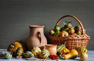 Images Still-life Apples Pears Sorbus Pumpkin Wicker basket Pitcher