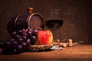 Wallpapers Still-life Cask Wine Grapes Apples Stemware