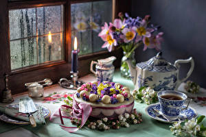 Hintergrundbilder Stillleben Torte Sträuße Tee Kerzen Tasse Fenster Lebensmittel