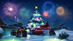 Wallpaper Tank Fireworks Christmas tree military