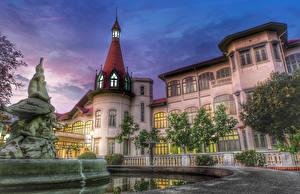 Bureaubladachtergronden Thailand Huizen Fontein Beeldhouwkunst Paleis Phaya Thai Palace een stad