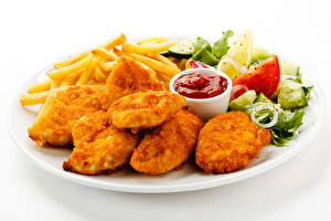 Wallpaper The second dishes Meat products Vegetables French fries Fast food White background Plate Ketchup Food