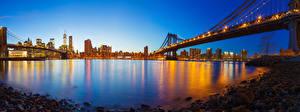 Fotos USA Gebäude Brücken Abend Steine New York City Manhattan Bucht