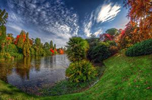 Hintergrundbilder Vereinigte Staaten Park See Herbst Bäume Strauch HDRI Sheffield Lake Park Natur