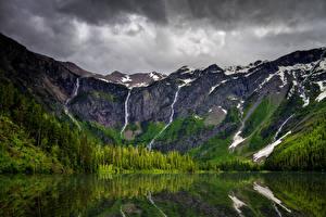 Hintergrundbilder Vereinigte Staaten Park Gebirge See Wälder Himmel Avalanche Lake Glacier National Park Natur