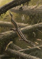 Wallpaper Underwater Ancient animals Dinosaurs Painting Art Mesosaurus