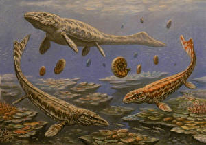 Wallpapers Underwater Ancient animals Dinosaurs Painting Art Prognathodon, Mosasaurus, Globidens