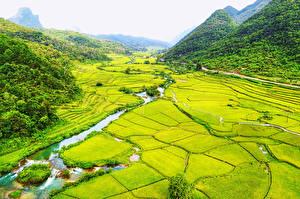 Bilder Vietnam Landschaftsfotografie Acker Flusse Gebirge Wälder Bac Can Natur