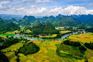 Fotos Vietnam Landschaftsfotografie Gebirge Acker Flusse Cao Bang Natur