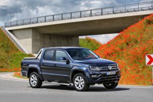 Bureaubladachtergronden Volkswagen Blauw kleur Pick-up 2016 Amarok Double Cab auto's