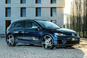 Bureaubladachtergronden Volkswagen Blauw kleur Metallic 2016 OCT Tuning Golf R auto's