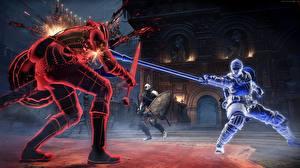 Pictures Warriors Battles Dark Souls 3 Swords Spear Games Fantasy 3D_Graphics
