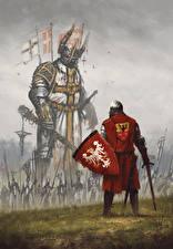 Wallpaper Warrior Knight Shield Swords Battle of Grunwald Fantasy