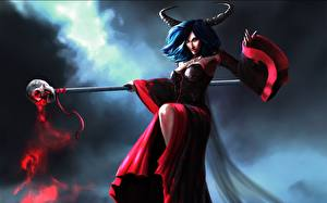 Image Witch Horns Mage Staff Fantasy Girls