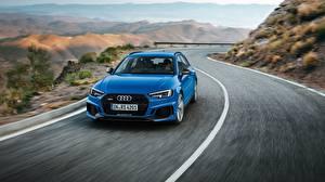 Sfondi desktop Audi Blu colori Velocità Familiare macchina Avant 2018 RS4 automobile