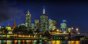 Image Australia Melbourne Houses River Bridges Night Street lights Cities
