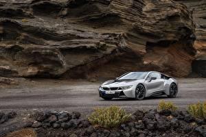 桌面壁纸,,BMW,灰色,金屬漆,轎跑車,2018 i8,汽车