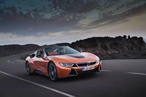 Photo BMW Orange Cabriolet Motion Roadster 2018 i8 automobile