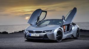 桌面壁纸,,BMW,灰色,轎跑車,i8 2018,汽车