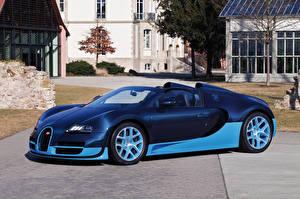Фотографии BUGATTI Синяя Кабриолета Люксовые 2012-15  Veyron Grand Sport Roadster  Vitesse Автомобили