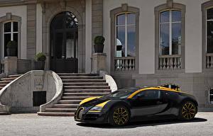 Hintergrundbilder BUGATTI Luxus Schwarz Metallisch 2014 Veyron Grand Sport Roadster Vitesse One of One Autos