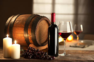 Wallpapers Barrel Grapes Candles Wine Bottles