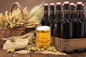Picture Beer Hops Bottle Wicker basket Spike Grain Mug Foam