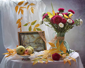 Images Bouquet Asters Still-life Autumn Apples Pictorial art Leaf Flowers