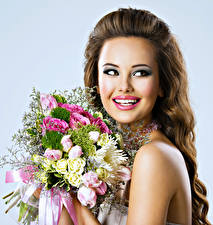 Pictures Bouquets Brown haired Smile Teeth Makeup Girls