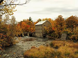 Bilder Kanada Gebäude Flusse Herbst Wälder Mühle Manotick Ottawa Natur