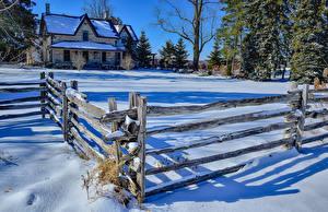 Fotos Kanada Winter Haus Schnee Zaun Milton Ontario Natur