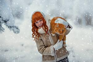 Fonds d'écran Chat domestique Roux Fille Flocon de neige Roux Sourire Julia Voinich Filles