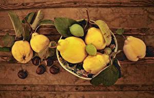 Bilder Kastanien Birnen Blatt Cidonia oblonga das Essen