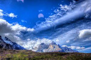 Picture Chile Mountains Sky Moss Clouds HDR Patagonia Nature
