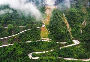 Sfondi desktop Cina Strade Foreste Montagne Tianmen Mountain Natura
