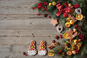 Hintergrundbilder Neujahr Kekse Äpfel Nussfrüchte Beere Bretter Ast Schleife Schneemänner Zapfen Lebensmittel
