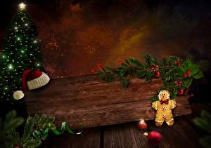 Hintergrundbilder Neujahr Kekse Bretter Mütze Christbaum Ast