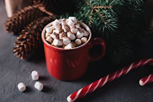 Picture New year Drinks Cup Marshmallow Food