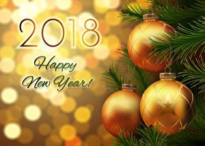 Fotos Neujahr Englischer 2018 Kugeln Ast