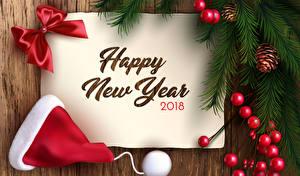 Bilder Neujahr Englisch 2018 Mütze Schleife Ast Zapfen