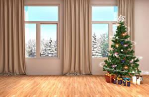 Image Christmas Holidays Interior Candles Design Window Christmas tree Gifts Curtains 3D Graphics