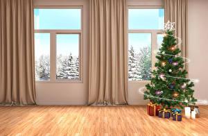 Hintergrundbilder Neujahr Feiertage Innenarchitektur Kerzen Design Fenster Tannenbaum Geschenke Gardine 3D-Grafik