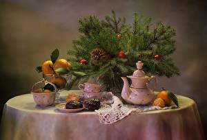 Hintergrundbilder Neujahr Feiertage Stillleben Flötenkessel Zefir Schokolade Mandarine Ast Tasse Zapfen das Essen