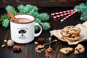 Wallpaper New year Hot chocolate drink Cookies Star anise Illicium Sweets Mug Cocoa solids Food