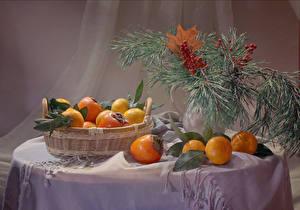 Hintergrundbilder Neujahr Stillleben Mandarine Kaki Tisch Ast Weidenkorb das Essen