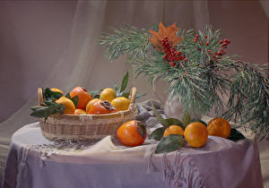 Picture New year Still-life Mandarine Kaki Table Branches Wicker basket