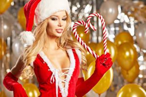 Pictures Christmas Confectionery Blonde girl Winter hat Heart Glove female